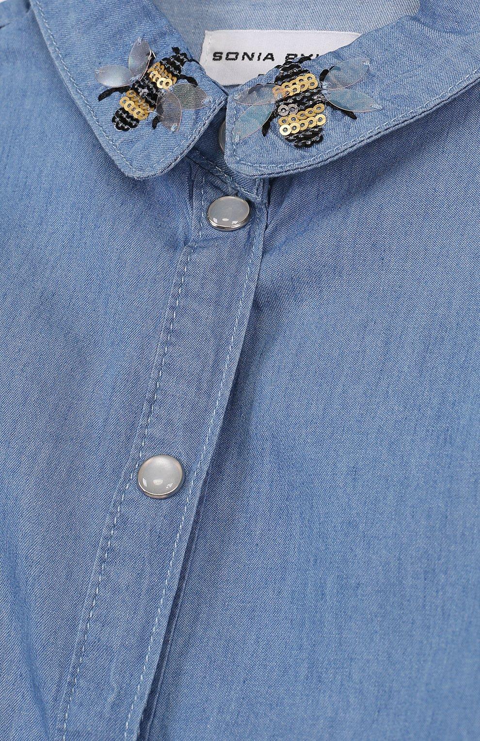 Детское блуза на кнопках с вышивкой SONIA RYKIEL ENFANT голубого цвета, арт. 18S1SH06   Фото 3