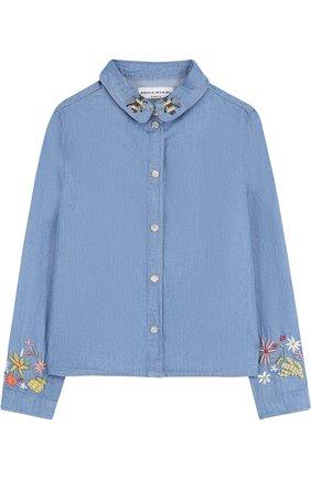 Детская блуза на кнопках с вышивкой Sonia Rykiel Enfant голубого цвета | Фото №1