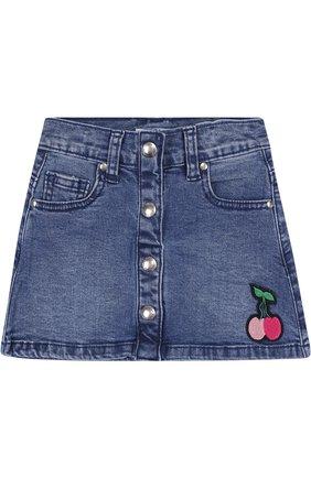 Джинсовая мини-юбка А-силуэта с нашивкой   Фото №1