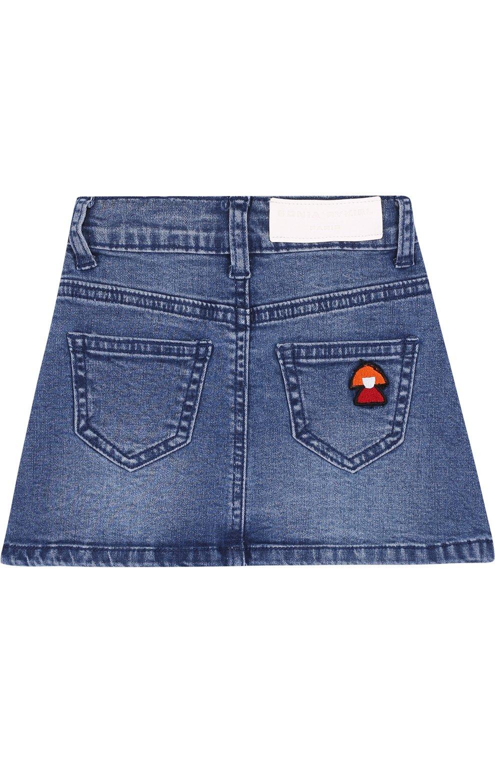 Джинсовая мини-юбка А-силуэта с нашивкой   Фото №2
