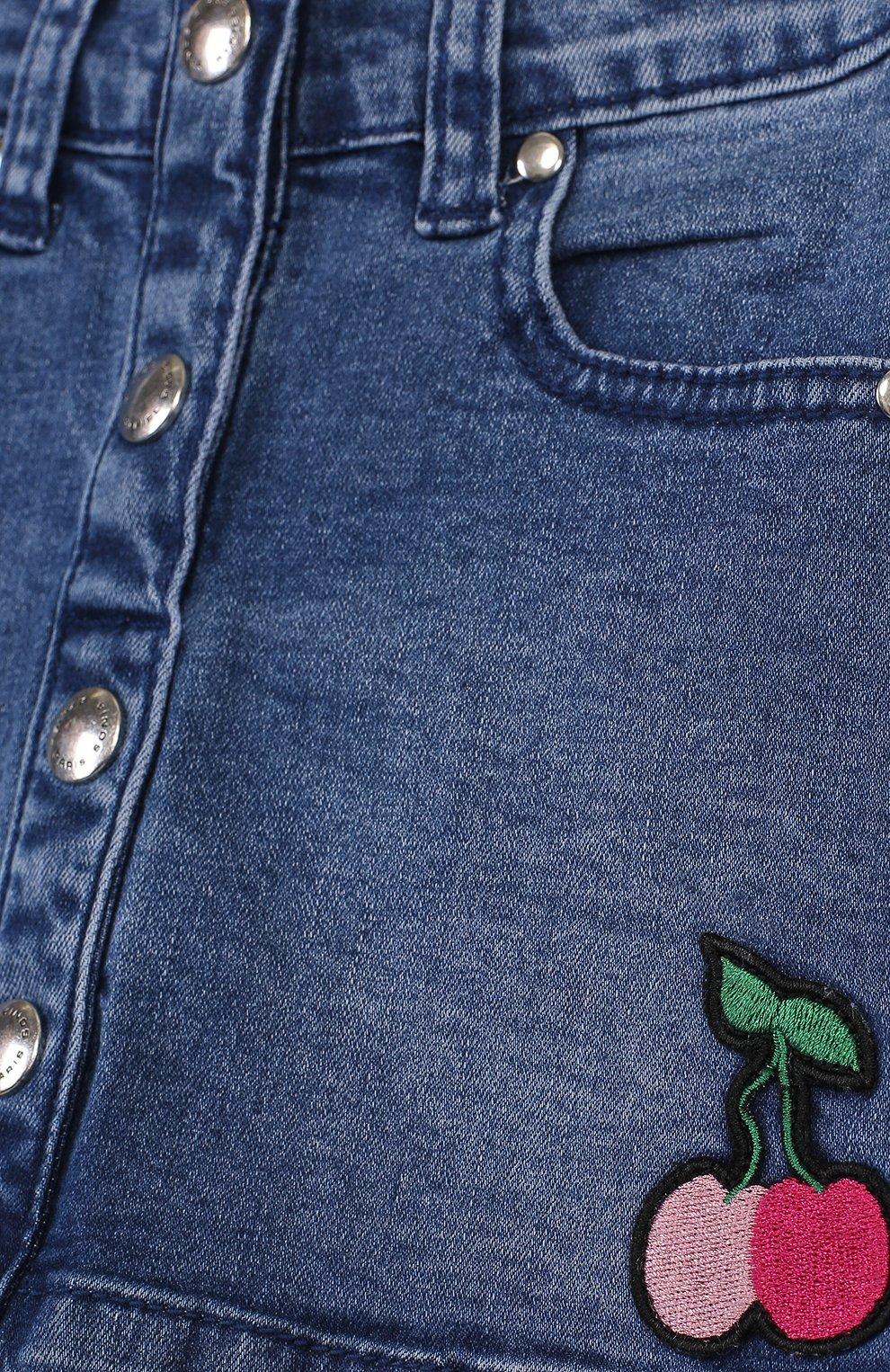 Джинсовая мини-юбка А-силуэта с нашивкой   Фото №3