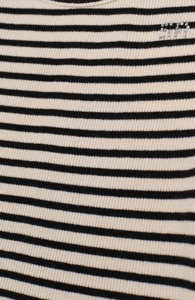 Детская хлопковый лонгслив в полоску с оборками SONIA RYKIEL ENFANT черного цвета, арт. 18S1TS26   Фото 3