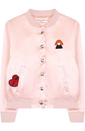 Текстильный бомбер с вышивкой Sonia Rykiel Enfant розового цвета | Фото №1