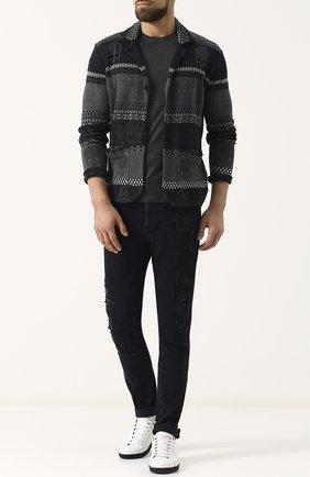 Однобортный льняной пиджак с принтом Gemma. H черный | Фото №1