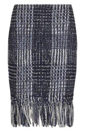 Женская твидовая мини-юбка с бахромой ST. JOHN синего цвета, арт. K75R001 | Фото 1
