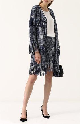 Женская твидовая мини-юбка с бахромой ST. JOHN синего цвета, арт. K75R001 | Фото 2