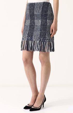 Женская твидовая мини-юбка с бахромой ST. JOHN синего цвета, арт. K75R001 | Фото 3