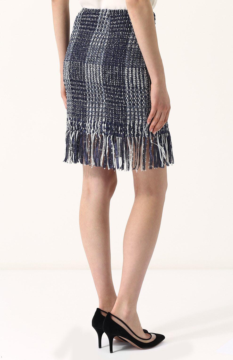 Женская твидовая мини-юбка с бахромой ST. JOHN синего цвета, арт. K75R001 | Фото 4