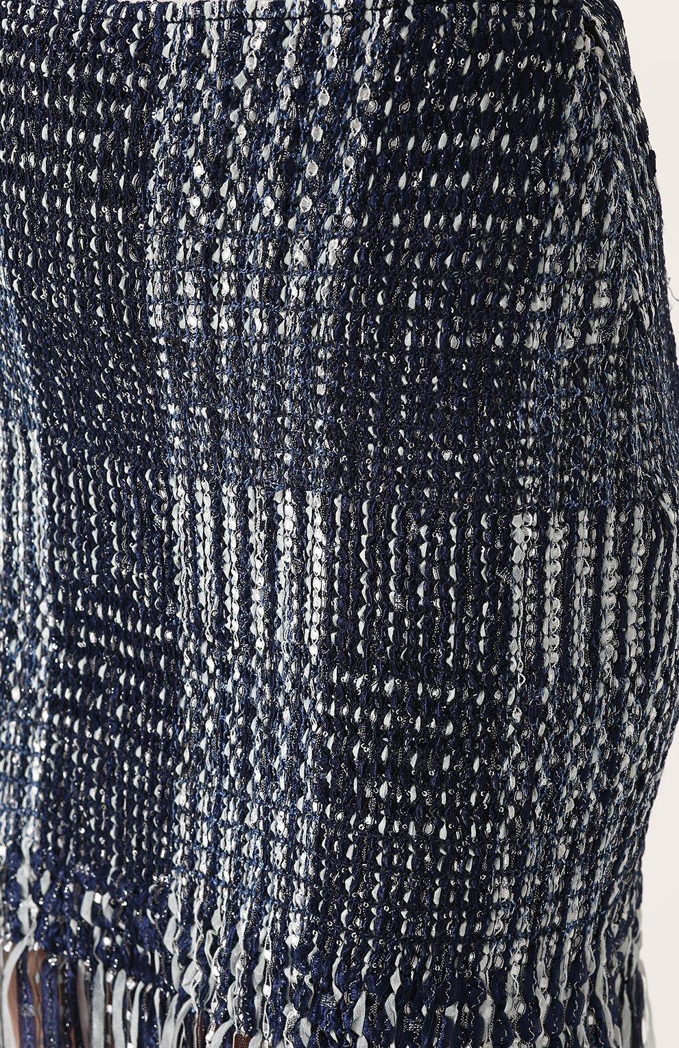 Женская твидовая мини-юбка с бахромой ST. JOHN синего цвета, арт. K75R001 | Фото 5