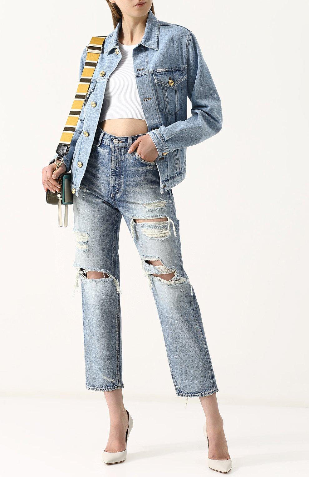 Укороченные джинсы прямого кроя с потертостями Moussy голубые   Фото №2