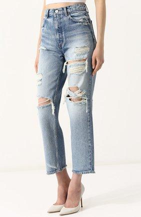 Укороченные джинсы прямого кроя с потертостями Moussy голубые   Фото №3