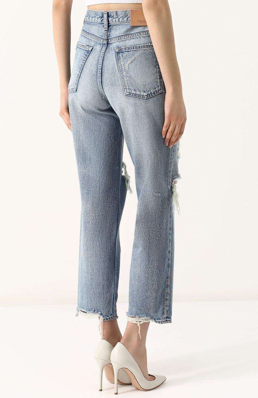 Укороченные джинсы прямого кроя с потертостями Moussy голубые   Фото №4