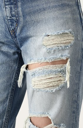 Укороченные джинсы прямого кроя с потертостями Moussy голубые   Фото №5