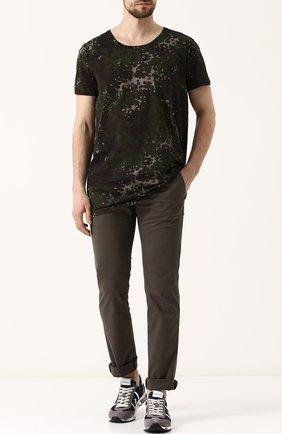 Хлопковая футболка с принтом Tomas Maier хаки | Фото №1