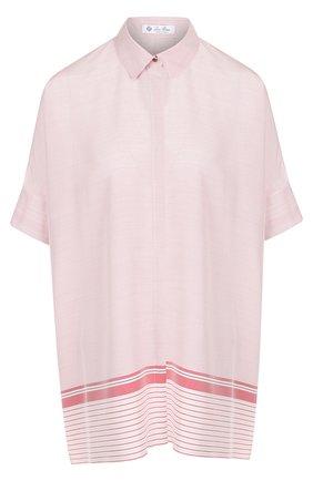 Шелковая блуза свободного кроя с коротким рукавом | Фото №1