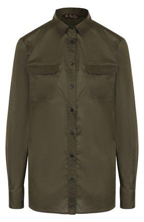 Однотонная хлопковая блуза с накладными карманами | Фото №1