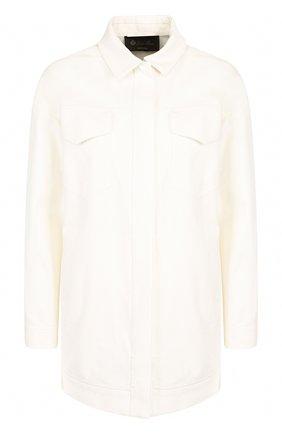 Женская однотонная джинсовая куртка с накладными карманами LORO PIANA белого цвета, арт. FAI1647 | Фото 1