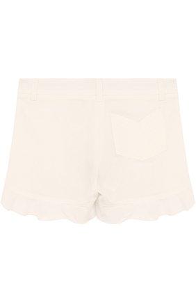 Детские хлопковые шорты с оборками LORO PIANA белого цвета, арт. FAI0665   Фото 2