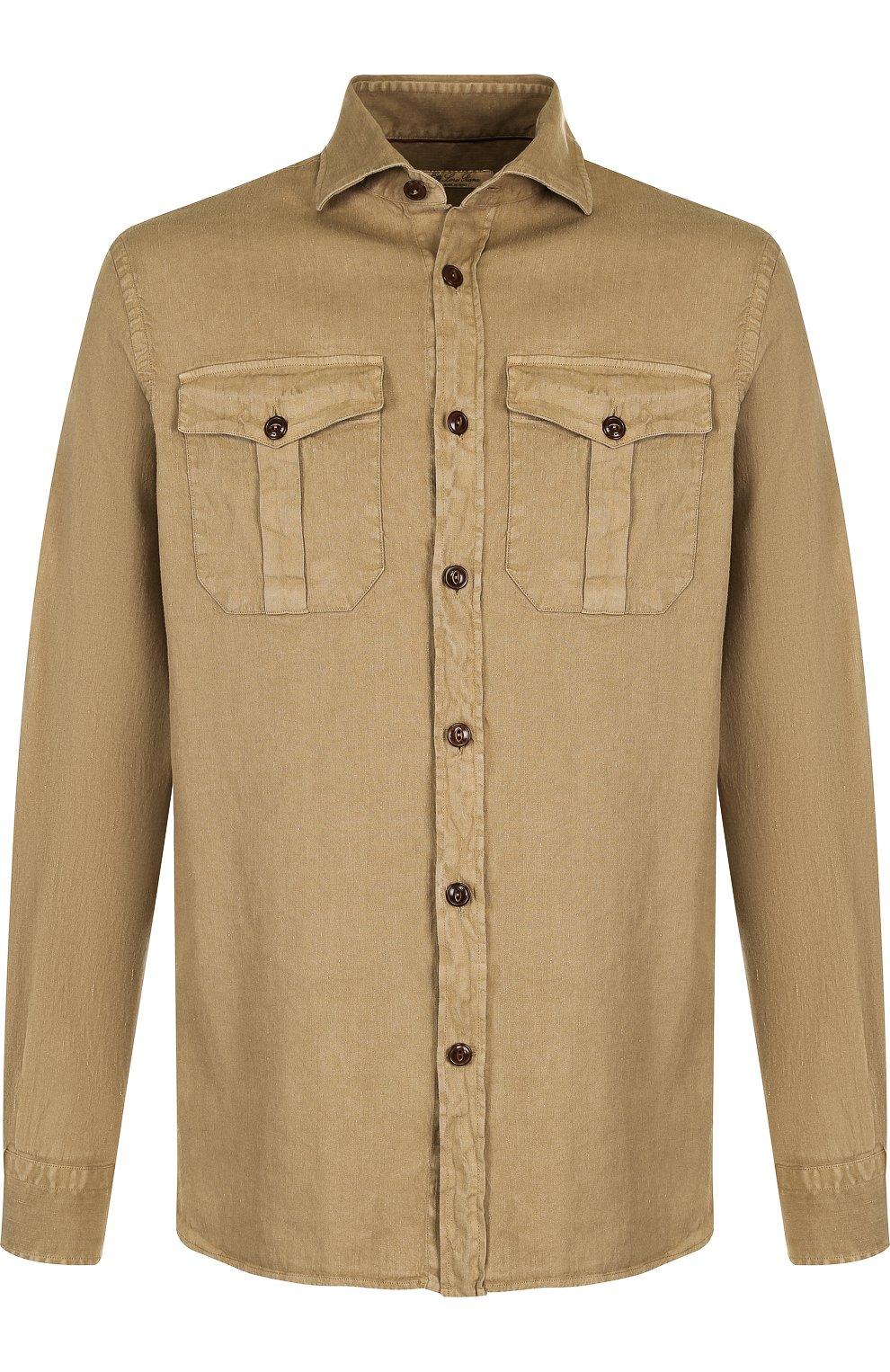 Мужская рубашка из смеси льна и хлопка LORO PIANA темно-бежевого цвета, арт. FAI0821 | Фото 1