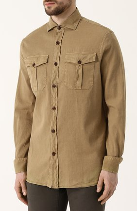 Мужская рубашка из смеси льна и хлопка LORO PIANA темно-бежевого цвета, арт. FAI0821 | Фото 3
