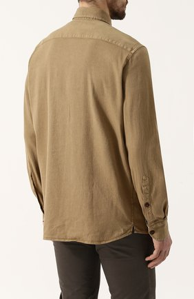 Мужская рубашка из смеси льна и хлопка LORO PIANA темно-бежевого цвета, арт. FAI0821 | Фото 4