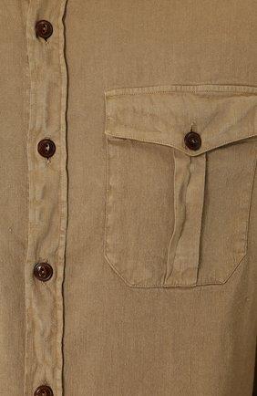 Мужская рубашка из смеси льна и хлопка LORO PIANA темно-бежевого цвета, арт. FAI0821 | Фото 5