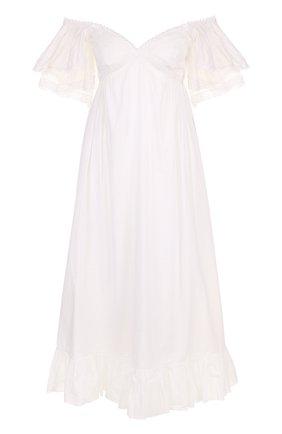 Хлопковое платье-миди с открытыми плечами | Фото №1