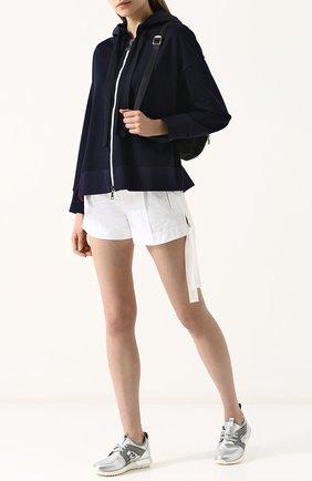Однотонные хлопковые мини-шорты Moncler белые | Фото №1