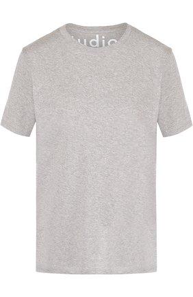 Хлопковая футболка с круглым вырезом Acne Studios серая | Фото №1