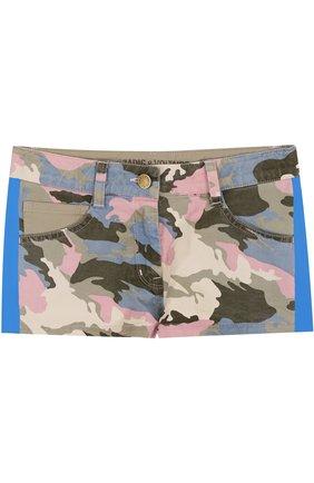 Детские джинсовые шорты с принтом и лампасами Zadig&Voltaire хаки цвета | Фото №1