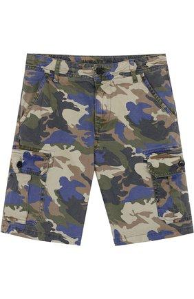 Детские джинсовые шорты с накладными карманами и принтом Zadig&Voltaire хаки цвета | Фото №1