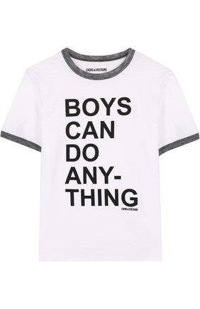 Детская футболка джерси с надписью Zadig&Voltaire белого цвета | Фото №1