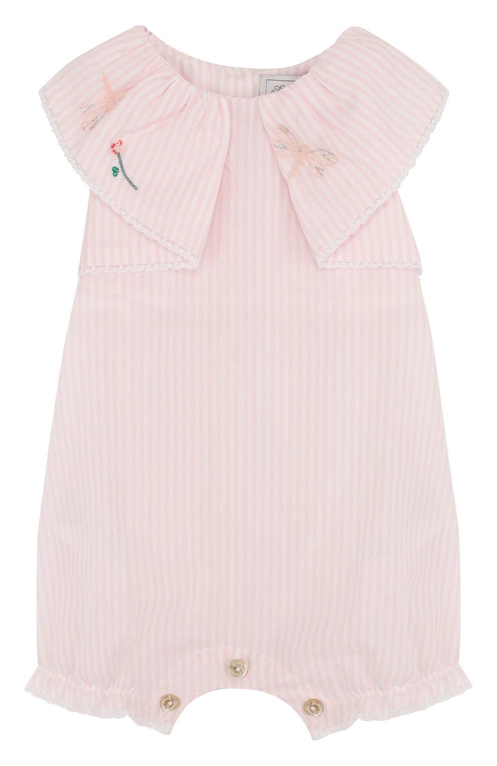Детское хлопковый песочник с вышивкой и оборкой TARTINE ET CHOCOLAT розового цвета, арт. TL33061 | Фото 1