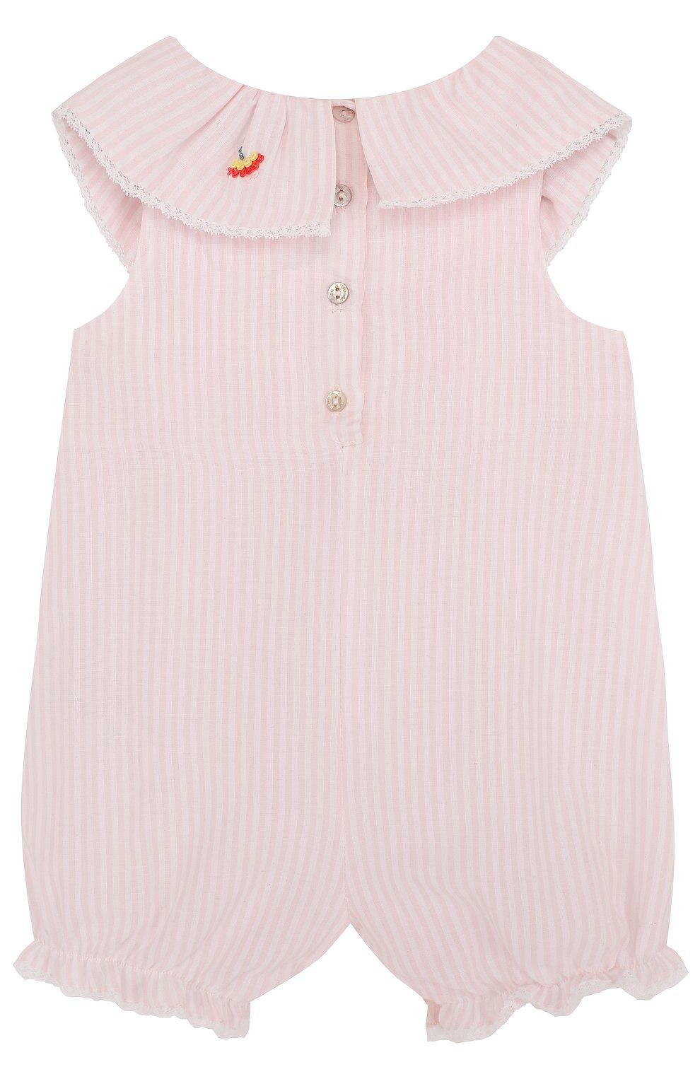 Детское хлопковый песочник с вышивкой и оборкой TARTINE ET CHOCOLAT розового цвета, арт. TL33061 | Фото 2