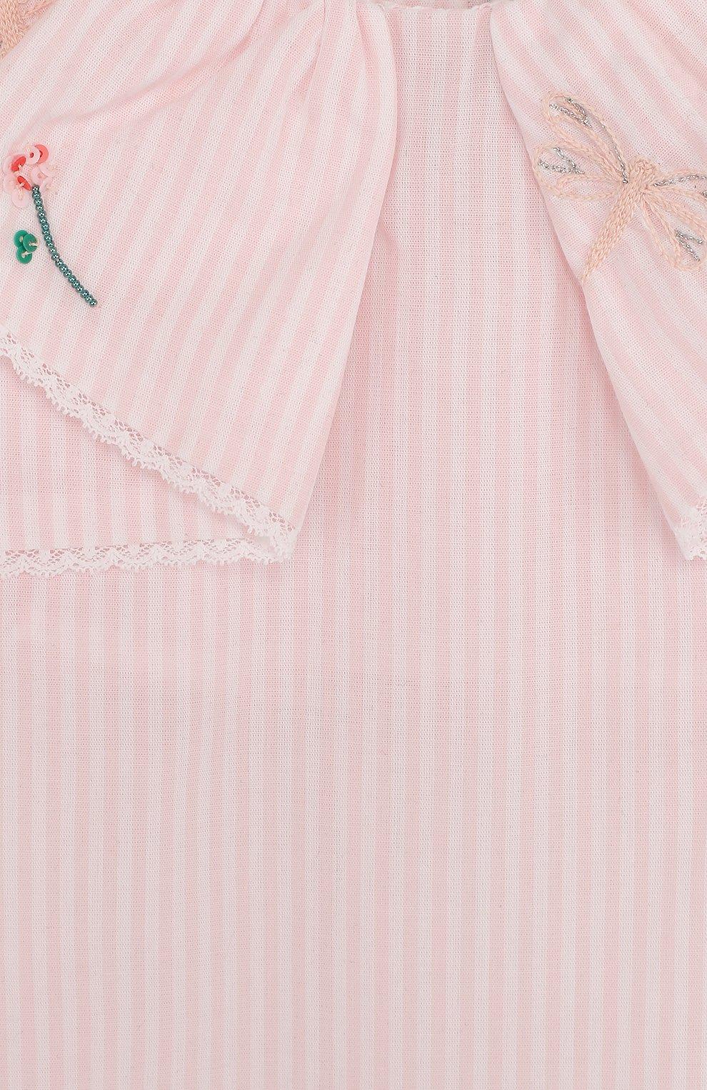Детское хлопковый песочник с вышивкой и оборкой TARTINE ET CHOCOLAT розового цвета, арт. TL33061 | Фото 3
