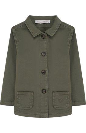 Детского хлопковая куртка на пуговицах TARTINE ET CHOCOLAT хаки цвета, арт. TL40001/1M-18M   Фото 1