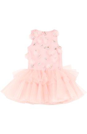 Детское мини-платье с пышной юбкой и фактурной отделкой Mischka Aoki розового цвета | Фото №1