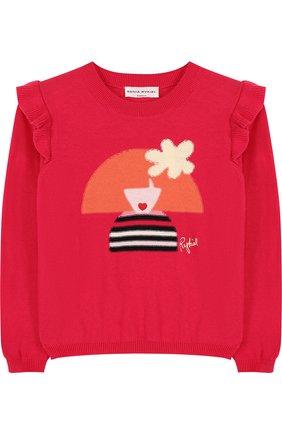 Хлопковый пуловер с принтом и оборками | Фото №1