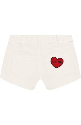 Детские джинсовые шорты с нашивками Sonia Rykiel Enfant белого цвета | Фото №1