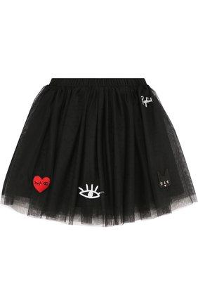 Многослойная юбка свободного кроя с нашивками | Фото №1