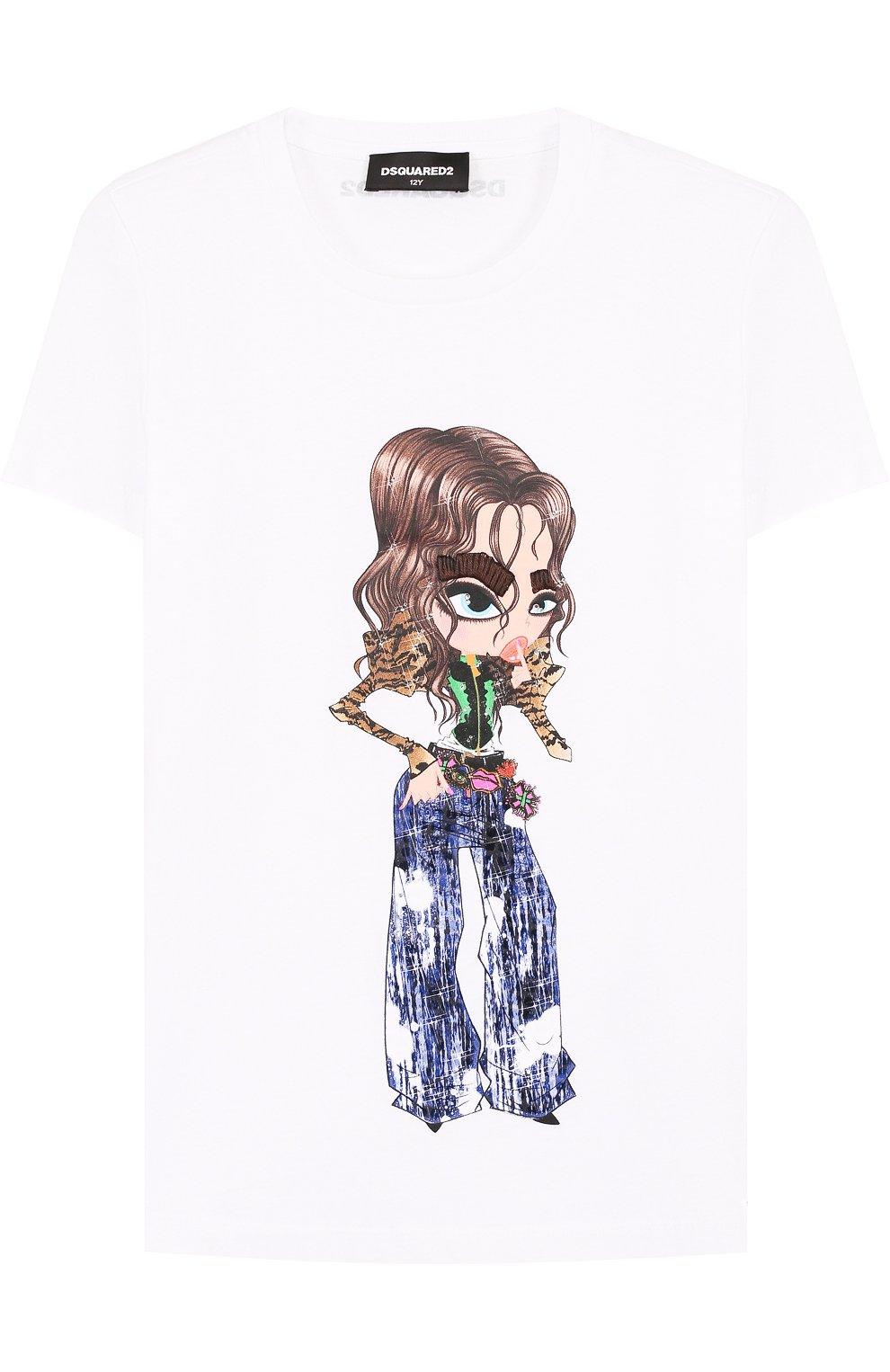 Детская хлопковая футболка с принтом DSQUARED2 белого цвета, арт. DQ02Q0-D00MM | Фото 1
