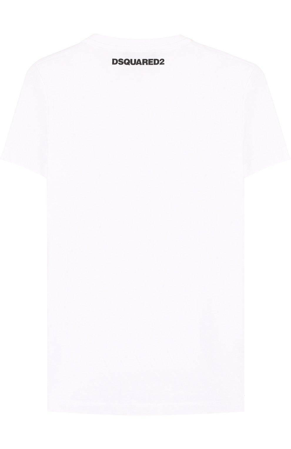Детская хлопковая футболка с принтом DSQUARED2 белого цвета, арт. DQ02Q0-D00MM | Фото 2