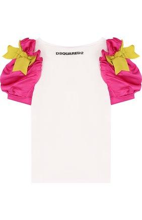 Детская хлопковая футболка с вышивкой и контрастными рукавами DSQUARED2 белого цвета, арт. DQ032G-D00PH   Фото 2