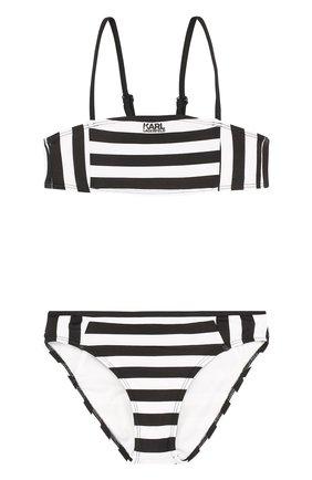 Раздельный купальник в полоску Karl Lagerfeld Kids черно-белого цвета | Фото №1