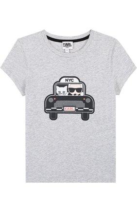 Детская хлопковая футболка с принтом Karl Lagerfeld Kids серого цвета | Фото №1
