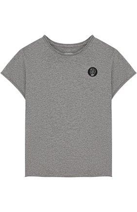 Детская хлопковая футболка с нашивкой NUNUNU серого цвета, арт. NU1706A | Фото 1