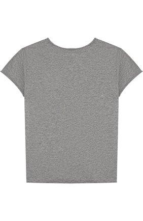 Детская хлопковая футболка с нашивкой NUNUNU серого цвета, арт. NU1706A | Фото 2
