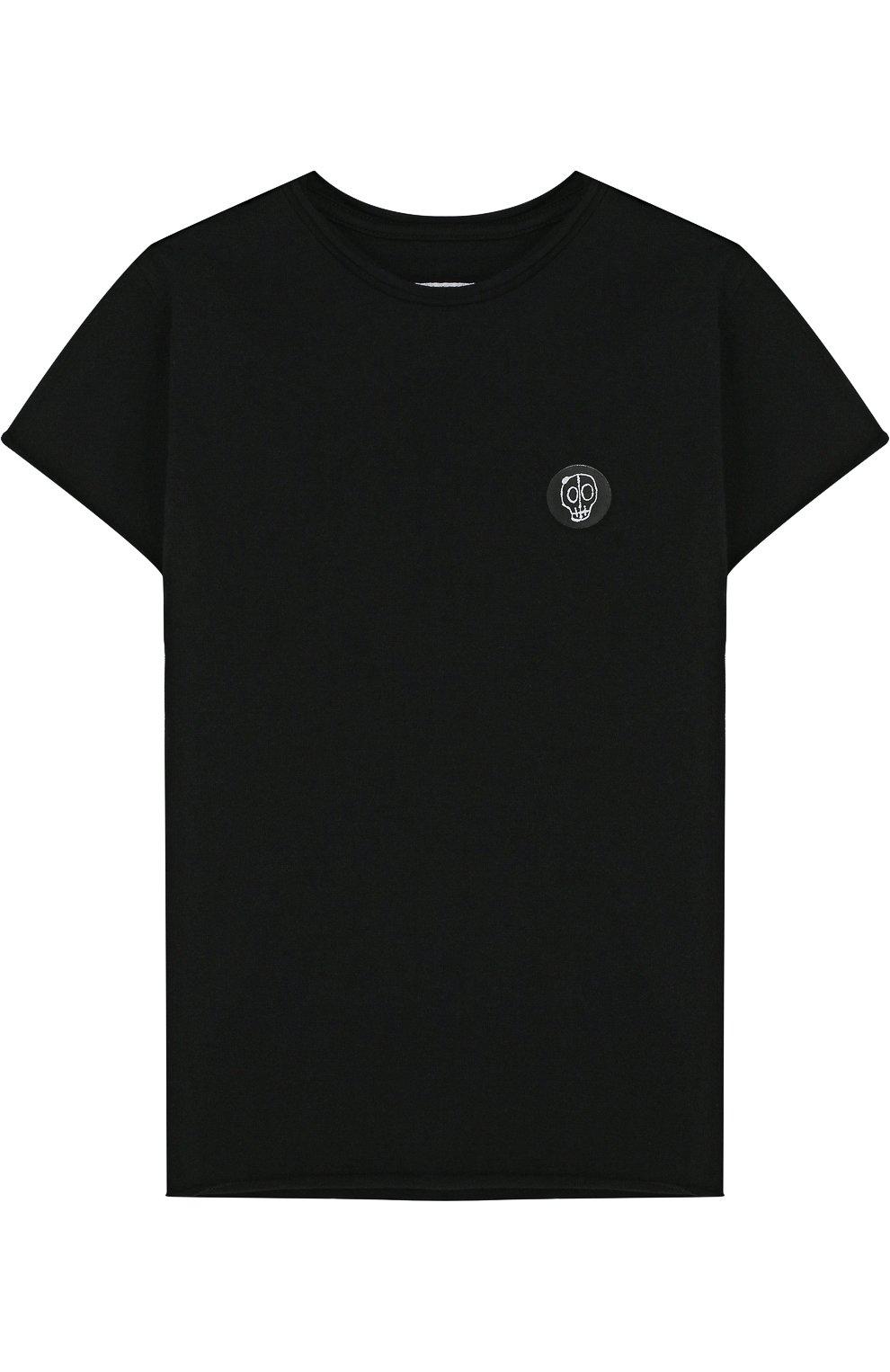 Детская хлопковая футболка с нашивкой NUNUNU черного цвета, арт. NU1706B | Фото 1