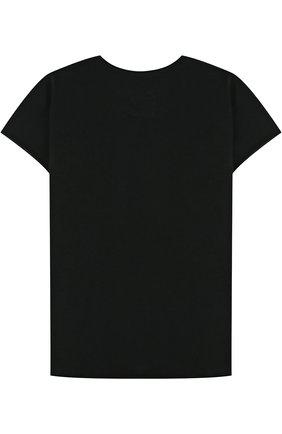 Детская хлопковая футболка с нашивкой NUNUNU черного цвета, арт. NU1706B | Фото 2