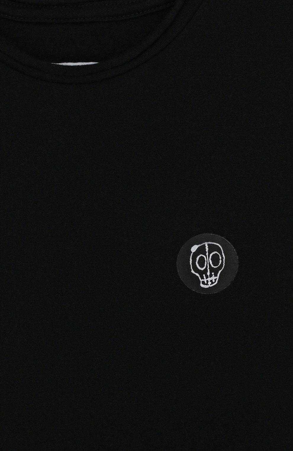 Детская хлопковая футболка с нашивкой NUNUNU черного цвета, арт. NU1706B | Фото 3